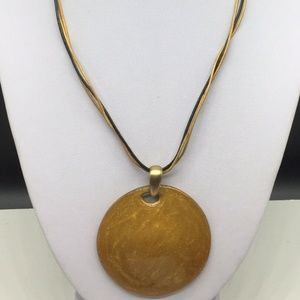 Chico's Black Gold Leather Enamel Circle Necklace